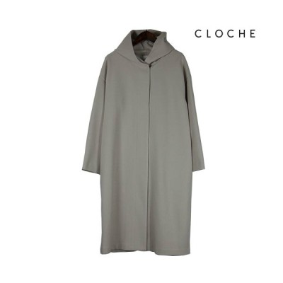 CLOCHE(クロッシェ) フードコート ライトコート ボタンレス フード付き フーディコート 深めスリット
