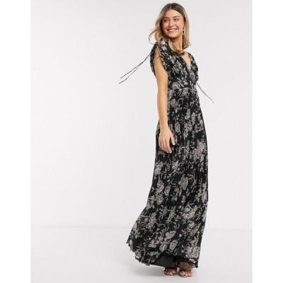 エイソス マキシドレス レディース ASOS DESIGN sleeveless pleated floral print maxi dress エイソス ASOS マルチカラー