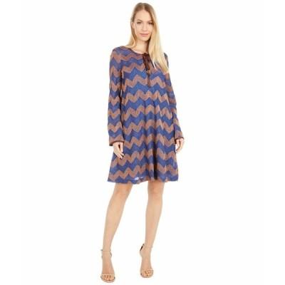 エム ミッソーニ ワンピース トップス レディース Long Sleeve Jersey Swing Dress in Zigzag Rust/Blue