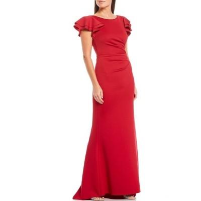 ジェシカハワード レディース ワンピース トップス Flutter Sleeve Ruched Waist V-Back Scuba Knit Gown Ruby Red