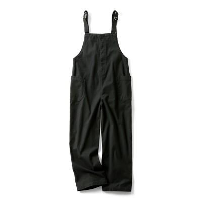 ワンピース感覚で着られる 大人のカジュアルサロペット〈ブラック〉 リブ イン コンフォート フェリシモ FELISSIMO