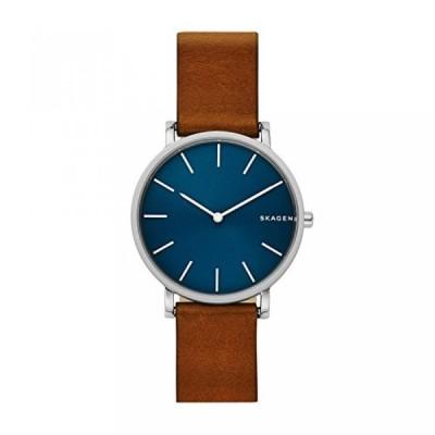 スカーゲン 腕時計 メンズウォッチ Skagen Men's 'Hagen' Quartz Stainless Steel and Leather Casual Watch, Color:Brown (Model: SKW6446)