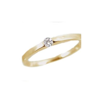 ダイヤモンド イエローゴールド k18 ピンキーリング 一粒 K18 指輪 ダイヤ 0.07ct