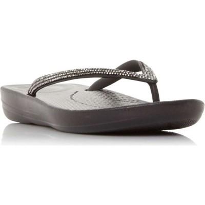 フィットフロップ Fitflop レディース ビーチサンダル ウェッジソール シューズ・靴 Iqushion Sparkl Wedge Flip Flops Black