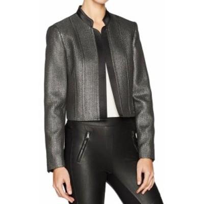 Blazer ブレザー ファッション 衣類 Nine West NEW Silver Women 6 Novelty Metallic Open Front Blazer Jacket