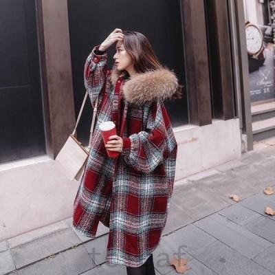 チェックコートロングコートチェック柄ファー付きおしゃれきれいめアウターコート上着ジャケットレディースコーデ10代20代30代40代