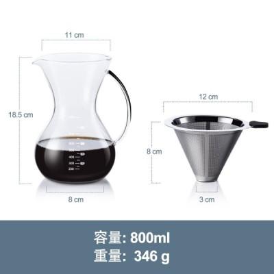 Love-KANKEI コーヒーサーバー コーヒードリッパー スポンジブラシ付属 耐熱ガラス ステンレスフィルター 2層メッシュ 紙フィルタ