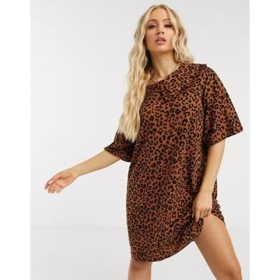エイソス レディース ワンピース トップス ASOS DESIGN mini tea dress with oversized prairie collar in leopard print