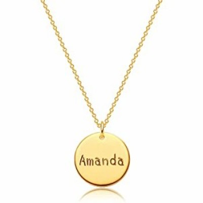 Dremmy Studios Personalized Name Necklace 18K Gold Filled Custom Amanda Disc Name Necklace Dainty Simple Charm Disk Engraved Nam