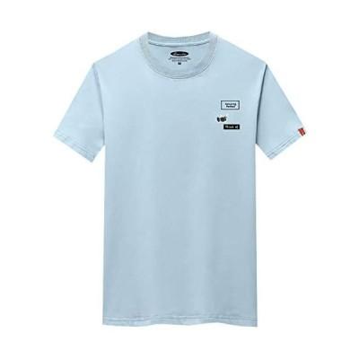 BUZZxSELECTION(バズ セレクション) Tシャツ 半袖 カットソー おしゃれ 英字 ロゴ プリント メンズ(01ブルー L サイズ)