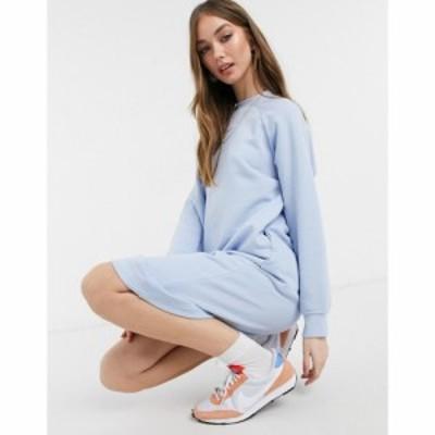 モンキ Monki レディース ワンピース ミドル丈 ワンピース・ドレス Ida Midi Sweat Dress In Blue ライトブルー