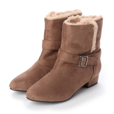 マシュガール masyugirl 【3E/幅広ゆったり・大きいサイズの靴】 セパレートエコファーアーモンドトゥブーツ (オークスエード) SOROTTO