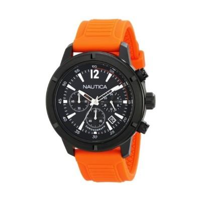 【新品】Nautica Men's N18710G Stainless Steel Watch with Orange Band
