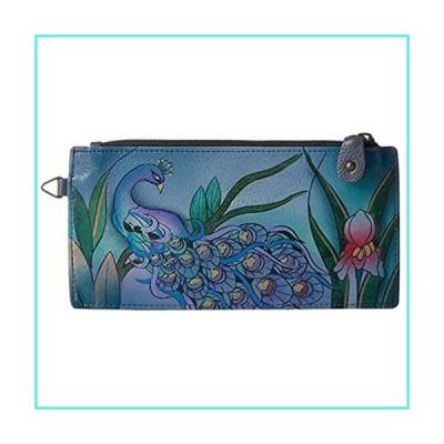 【新品】Anna Anuschka Leather Slim Organizer Wallet ID CC Coin Bill Key Fob (Midnight Peacock Grey)(並行輸入品)