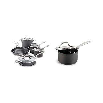 Calphalon Signature Hard-Anodized Nonstick Pots and Pans, 10-Piece Cookware Set & Signature Hard-Anodized Nonstick 1-Quart Sauce Pan with Co