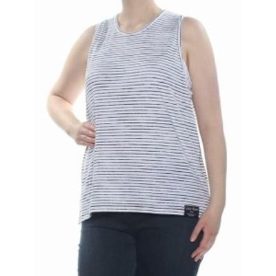 Calvin Klein カルバンクライン ファッション トップス Calvin Klein Jeans Womens Top Black White Large L Tank Cami Striped