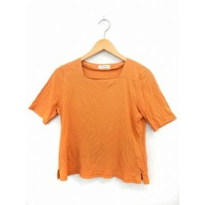 【中古】APTE STAFF Tシャツ カットソー 半袖 スクエアネック 無地 シンプル 綿 コットン 154~162 オレンジ /ST16 レディース