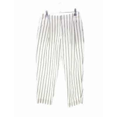 【中古】アダムエロペ Adam et Rope' パンツ テーパード ストライプ 36 白 ホワイト /M2 レディース