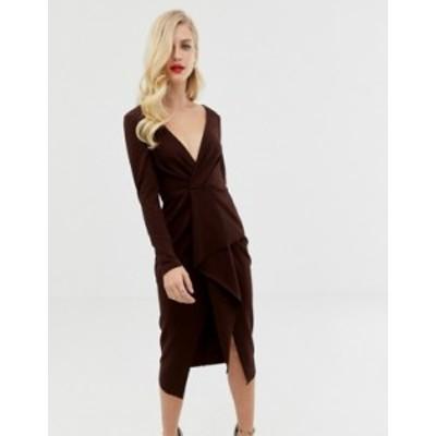 エイソス レディース ワンピース トップス ASOS DESIGN long sleeve textured wrap midi dress Chocolate