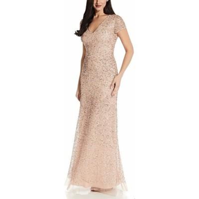 アドリアナ パペル ワンピース トップス レディース V-Neck Sequin Gown Blush Pink