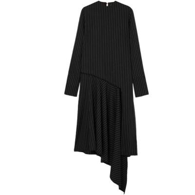 シックスティーン アーリントン 16ARLINGTON レディース ワンピース ワンピース・ドレス asymmetric draped pinstriped twill dress Black