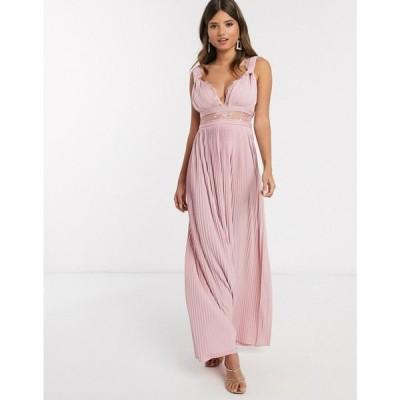 エイソス ASOS DESIGN レディース ワンピース マキシ丈 ワンピース・ドレス Premium twist strap lace insert maxi dress in soft pink ソフトピンク