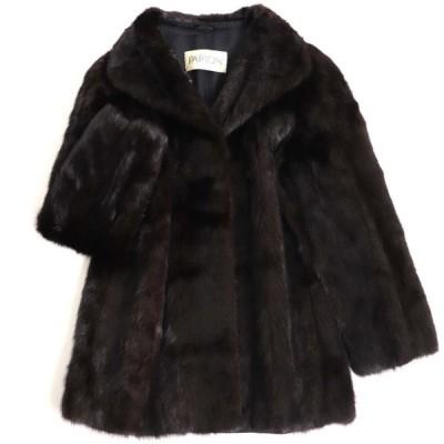 極美品▼SAGA MINK サガミンク 裏地ロゴ柄 本毛皮コート ダークブラウン(ブラックに近い) 毛質艶やか・柔らか◎