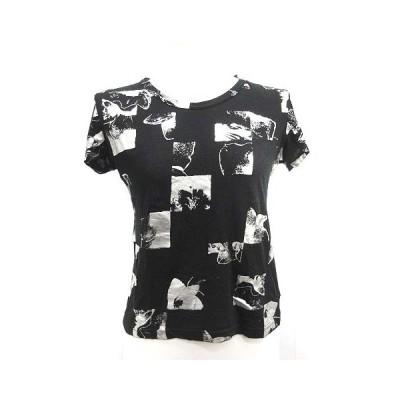 【中古】ワイズ Y's ヨウジヤマモト Tシャツ カットソー 半袖 総柄 絹混 シルク混 黒 シルバー色 /MF40 レディース 【ベクトル 古着】