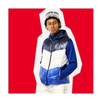 【マンシングウェア】 フード付き切替アウターベスト メンズ ブルー系 L Munsingwear