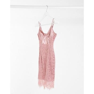 アイソウイット ミディドレス レディース I Saw It First lace and satin mini dress in pink  エイソス ASOS sale ピンク