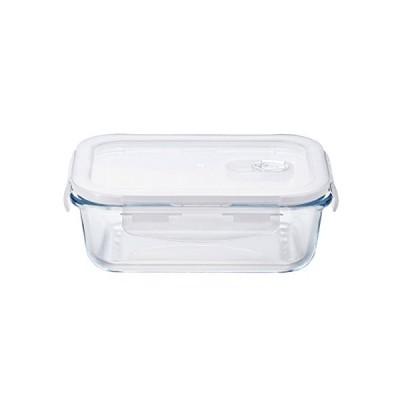 アデリア 耐熱ガラス 4面ロック 密封保存容器 クリア 600ml クックロック レクタングル 電子レンジ対応 H-8764