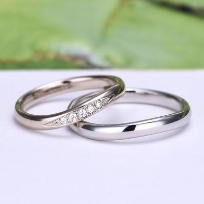 結婚指輪ペア 【 鍛造 】女性用は珍しい上品な淡いピンクゴールド、最高級カットH&Cダイヤ入り高級リング、変形やキズに非常に強い高品質鍛造、ゆるやかなウ