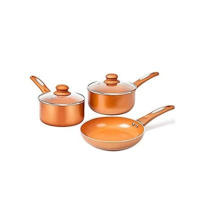 特別価格FGY 5 Pieces Copper Pots Pans Set Nonstick Cookware Set with Induction Bott好評販売中