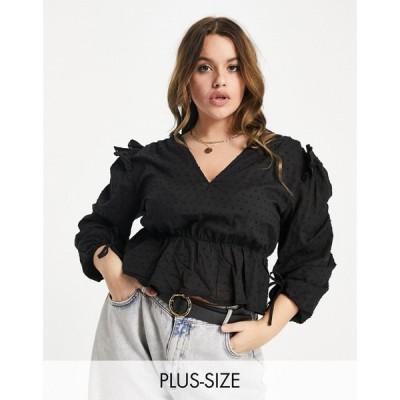 ミスガイデッド Missguided Plus レディース ブラウス・シャツ トップス dobby blouse with tie cuff detail in black ブラック