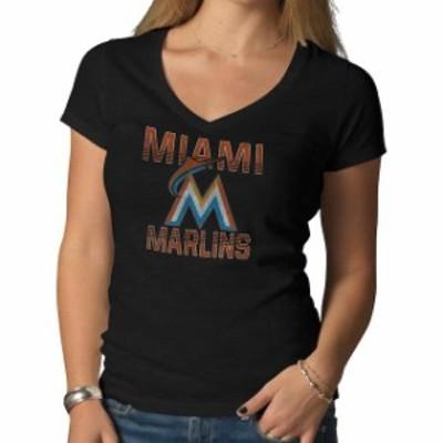 47 フォーティーセブン スポーツ用品  47 Miami Marlins Womens Black Logo V-Neck Scrum T-Shirt