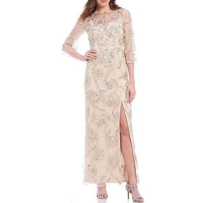 アイダンマットックス レディース ワンピース トップス 3/4 Sleeve Scoop Back Beaded Column Gown