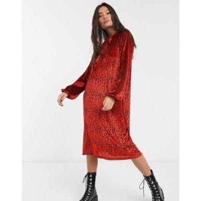 エイソス ASOS DESIGN レディース ワンピース ミドル丈 ワンピース・ドレス animal velvet tie neck midi dress in red