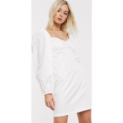 ステファニア ヴィアダニ Stefania Viadani レディース ワンピース ミニ丈 Stefania Vaidani heidi poplin mini dress with volume sleeve in white ホワイト