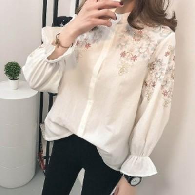 レディース ブラウス 花柄 刺繍 キャンディスリーブ ロングシャツ 長袖 トップス カジュアル S M L XL サイズ