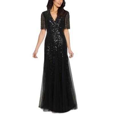 アドリアナ パペル ワンピース トップス レディース Tuxedo Sequin Gown Black