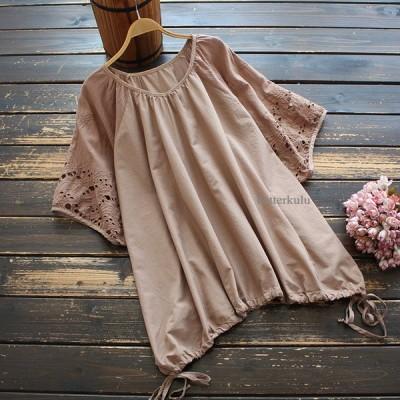 Tシャツ 丸首 無地 トップス 透かし編み 柔らか 通勤 日常 夏 爽やか ゆったり 半袖 新作 レディース