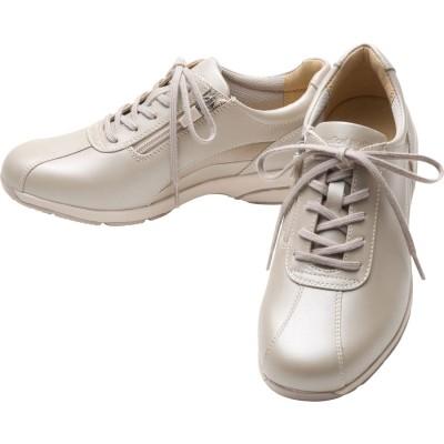 女性用スニーカー スタイリッシュモデル ひざに優しい アサヒメディカルウォークLE 婦人靴 レディース (ベージュ/メタリック)