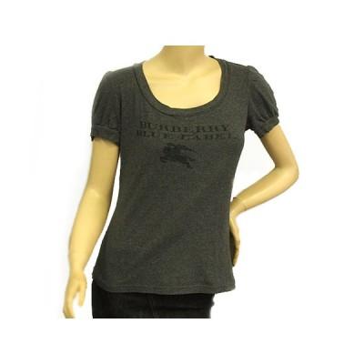 富士屋◆送料無料◆バーバリー BURBERRY ブルーレーベル グレー 半袖 ロゴプリント サイズ38 パフスリーブTシャツ