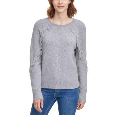 カルバンクライン ニット&セーター アウター レディース Fringe-Trim Sweater Heather Granite