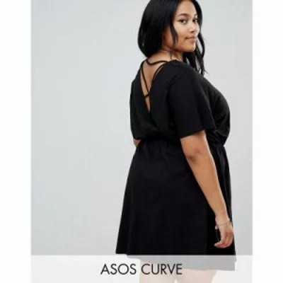 エイソス ワンピース ASOS DESIGN Curve cross back smock dress in slub Black