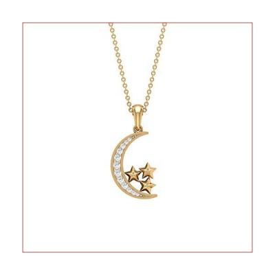 Rosec Jewels-1/3カラットの星と月のペンダント HI-SI ダイヤモンド、三日月と星のネックレス、ゴールドの天