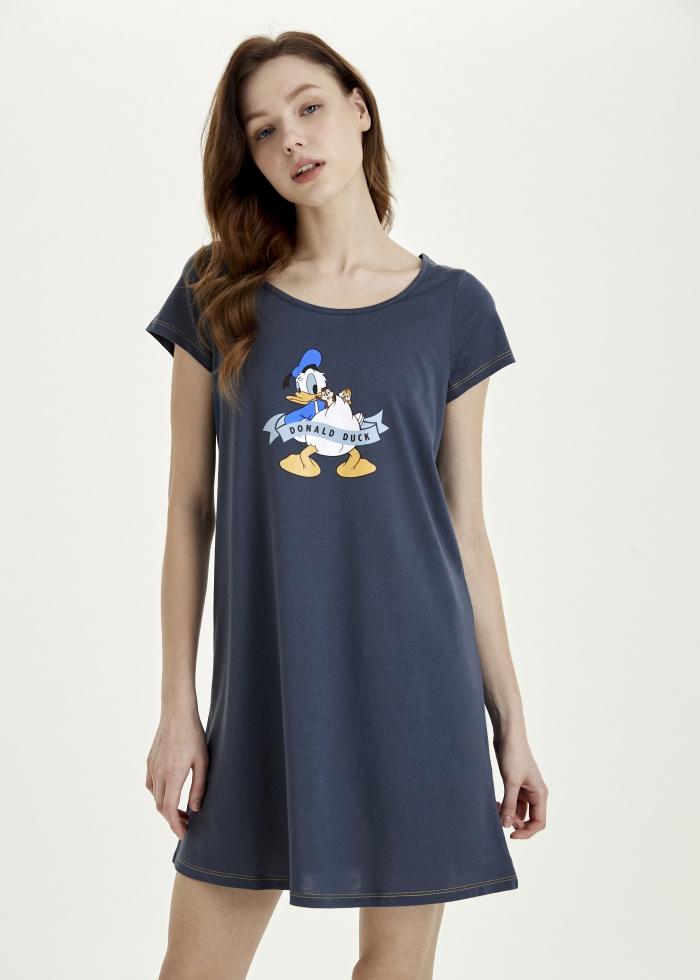 連身_迪士尼系列.A-Line印花睡衣(藍-唐老鴨與奇奇蒂蒂)