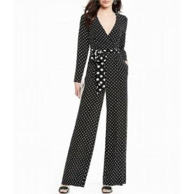 Eliza J エリザジェイ ファッション ジャンプスーツ Eliza J Womens White Polkadot Print Surplice Black 6 Wide-Leg Jumpsuit