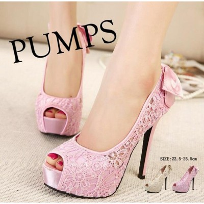 パンプスピンヒール 12.5cmヒールオープントゥバックリボン キャバ ハイヒール/ピンヒールレディース靴 大きいサイズあり 行事 式 二枚送料無料