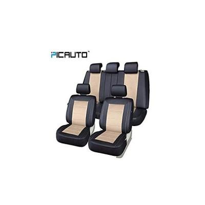 送料無料 PIC AUTO Universal Fit Full Set Mesh and Leather Car Seat Cover(Beige)